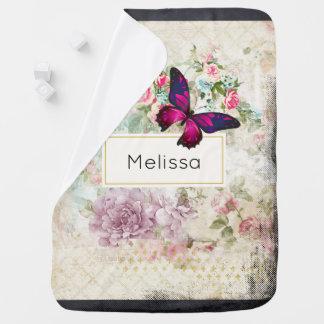 Couverture Pour Bébé Papillon rose et roses vintages minables faits sur