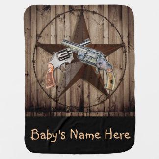 Couverture Pour Bébé pistolet rustique de cowboy d'étoile de Texas de