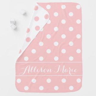 Couverture Pour Bébé Point de polka de roses pâles et de blanc