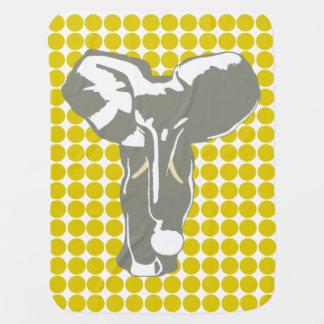 Couverture Pour Bébé Point d'or de safari de pavot avec l'éléphant