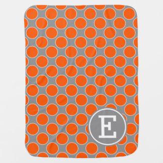 Couverture Pour Bébé Points oranges d'été sur le monogramme de gris de