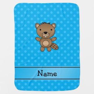 Couverture Pour Bébé Pois nommé personnalisé de bleu de castor