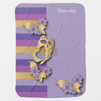 Couverture Pour Bébé Pourpre et rayures d'or avec des papillons