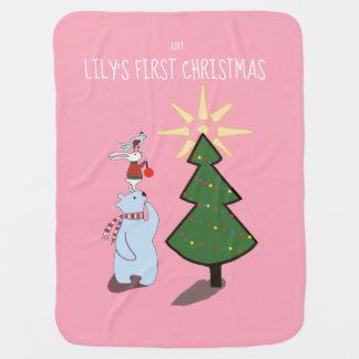 Couverture Pour Bébé Première couverture de Noël du bébé personnalisé