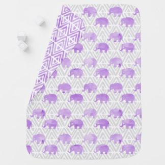 Couverture Pour Bébé Primitif Chevron de Shibori d'éléphant d'aquarelle