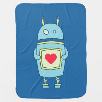 Couverture Pour Bébé Robot maladroit mignon bleu avec le coeur