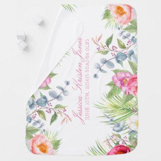 Couverture Pour Bébé Rose floral romantique tropical de stat de