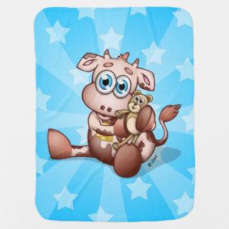 Couverture Pour Bébé Vache à bébé avec l'ours de nounours - couverture