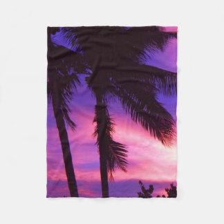 Couverture pourpre d'ouatine de coucher du soleil