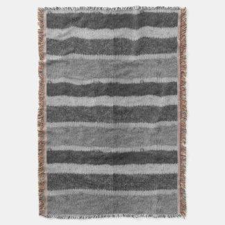 Couverture rétro motif noir et blanc tricoté de rayures