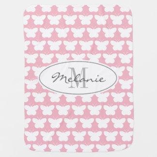 Couverture rose girly de bébé de papillon de couvertures de bébé