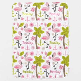 Couverture rose personnalisée de bébé de flamants couverture de bébé
