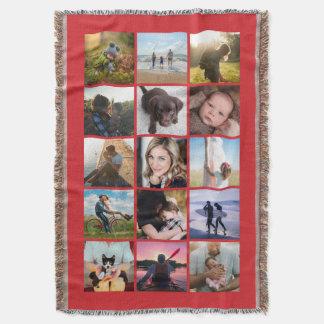 Couverture Rouge carré de souvenir de collage de la photo 15