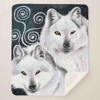 Couverture Sherpa Aquarelle arctique de loups