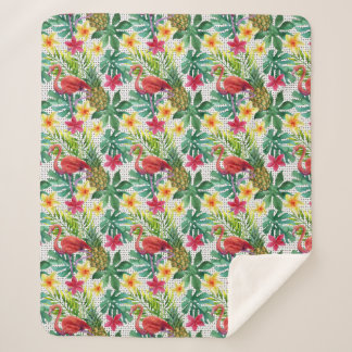 Couverture Sherpa Aquarelle tropicale