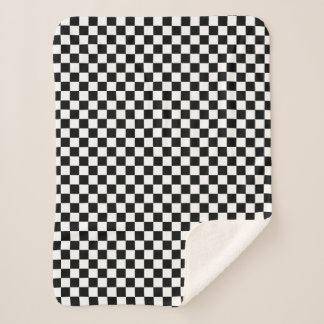 Couverture Sherpa Blanc de emballage Checkered classique de noir de