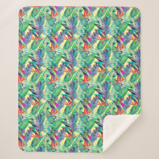 Couverture Sherpa Colibris d'aquarelle dans la jungle