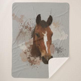 Couverture Sherpa Couleur pour aquarelle de cheval
