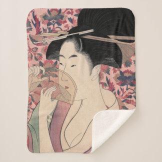 Couverture Sherpa Femme japonaise tenant un peigne, Kitagawa Utamaro