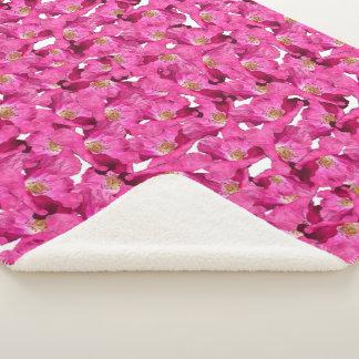 Couverture Sherpa Modèle rose de pavots floraux
