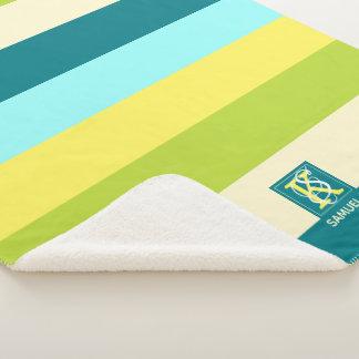 Couverture Sherpa Monogramme coloré frais et heureux de rayures