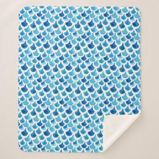 Couverture Sherpa Motif bleu d'échelle d'aquarelle