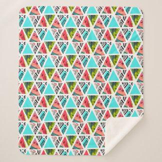 Couverture Sherpa Motif tropical abstrait coloré
