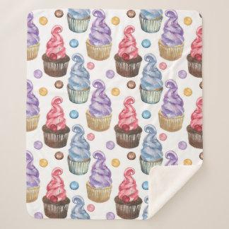 Couverture Sherpa Petits gâteaux d'aquarelle colorés