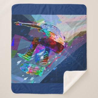 Couverture Sherpa Planchiste de silhouette coloré par crayon superbe