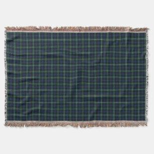 Couverture Tartan de bleu marine et de vert de clan de