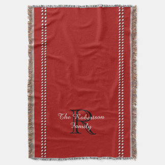 COUVERTURE THROW_FAMILY_BLACK/WHITE/RED CHIC
