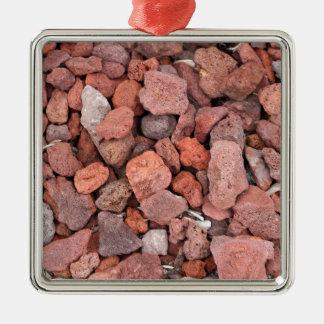 Couverture végétale rouge de roches volcaniques ornement carré argenté