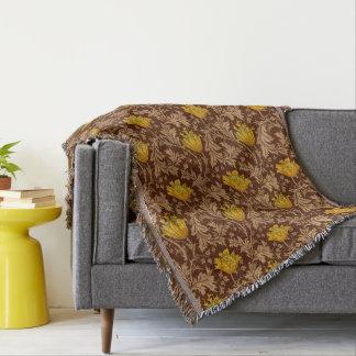 Couvertures Anémone de William Morris, Brown et or de moutarde
