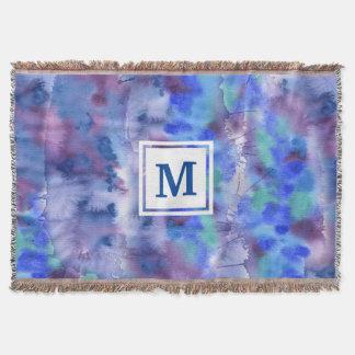 Couvertures Aquarelle Teal pourpre bleu peint à la main