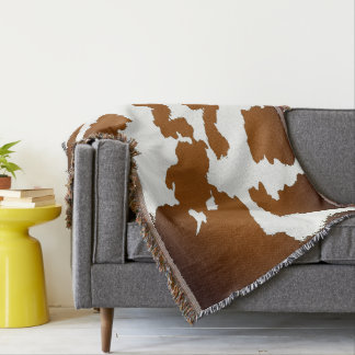 Couvertures Brown et motif blanc d'impression de vache