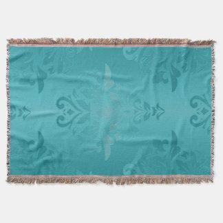 Couvertures Damassé de grunge de turquoise