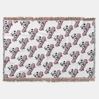 Couvertures Équitation de panda sur la planche à roulettes