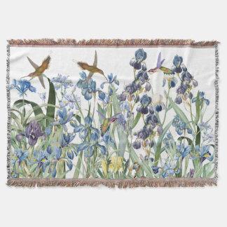 Couvertures L'iris d'oiseaux de colibri fleurit le jet floral