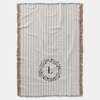 Couvertures Monogramme de coutil de toile gris de rayures de
