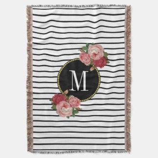 Couvertures Monogramme floral vintage de rayure blanche noire