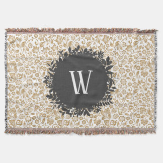 Couvertures Motif floral d'or avec le monogramme gris-foncé de