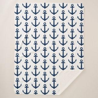 Couvertures nautiques de sherpa de motif d'ancre