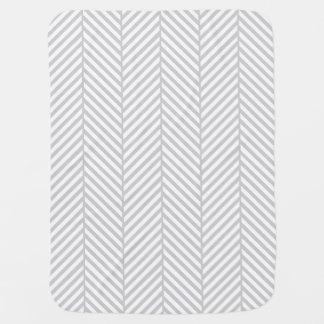 Couvertures Pour Bébé Arête de hareng grise et blanche