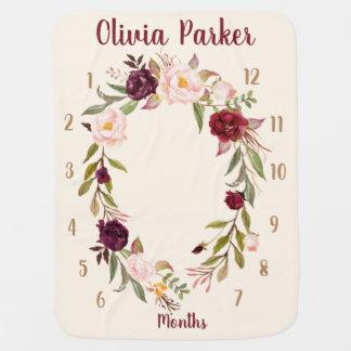 Couvertures Pour Bébé Cadeau mensuel floral personnalisé de couverture