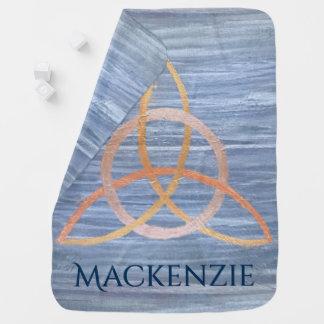 Couvertures Pour Bébé Celtic bleu Triquetra d'or nommé curieux du bébé |
