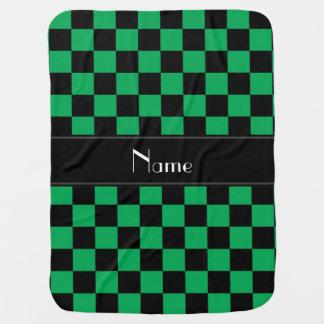 Couvertures Pour Bébé Contrôleurs noirs et verts nommés personnalisés