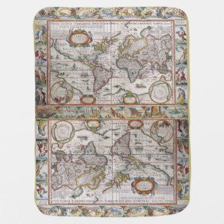 Couvertures Pour Bébé Couverture antique de bébé de carte du monde