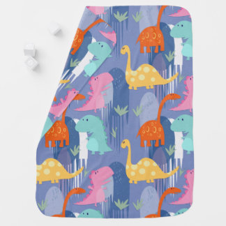 Couvertures Pour Bébé Couverture bleue de dinosaure