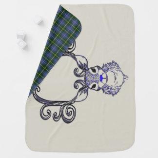 Couvertures Pour Bébé Couverture bleue de tartan de cerfs communs de