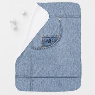 """Couvertures Pour Bébé Couverture de """"jeans"""" avec ou sans les initiales"""